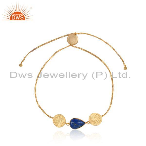 Handtextured Gold on Silver Slider Bracelet with Lapis Lazuli