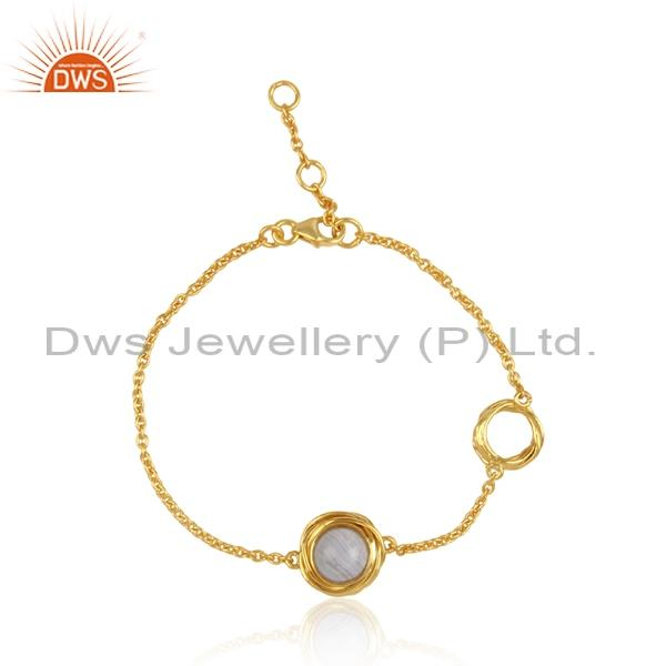 Gold plated, 925 silver bracelet with blue lace agate