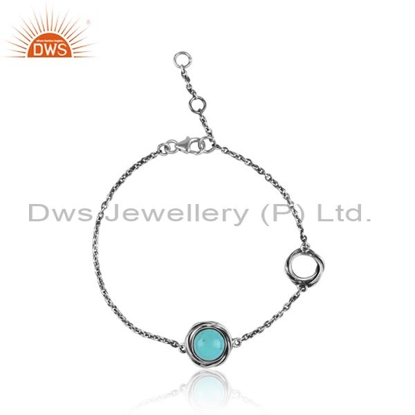 Arizona Turquoise Cabusion Sterling Silver Bracelet