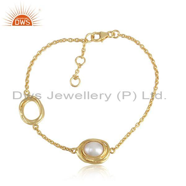 Gold On 925 Silver Wrapped Treasure Pearl Chain Bracelet