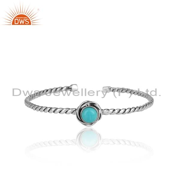 Twisted Arizona Turquoise 925 Silver Adjustable Bangle