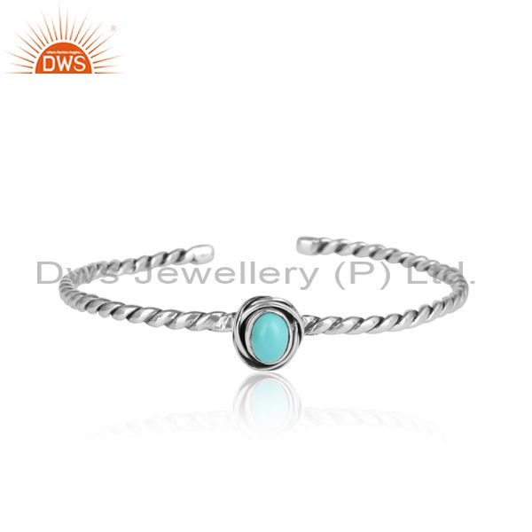 Arizona Turquoise Set 925 Silver Twisted Bangle