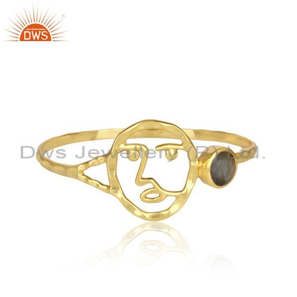 Labradorite Set Silver Gold Plated Face Collection Cuff