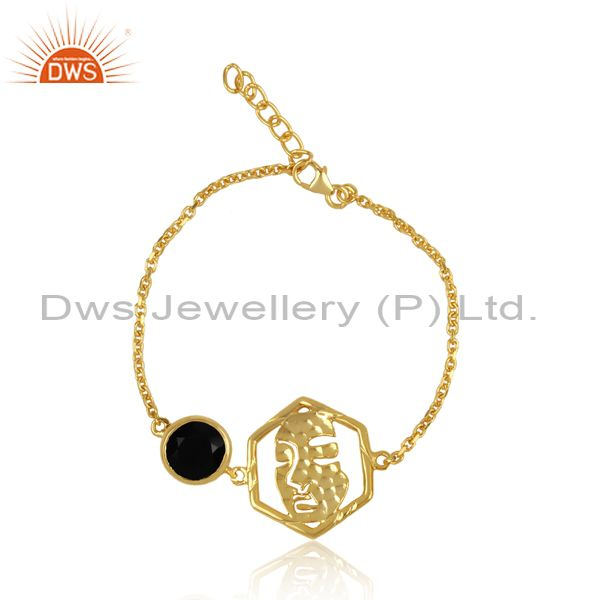 Face Collection Silver Gold Bracelet Set With Black Onyx