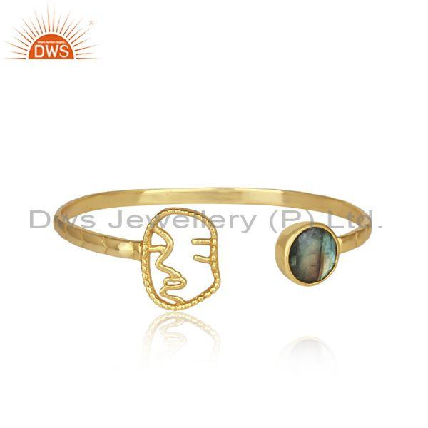 Labradorite Set Sterling Silver Gold Plated Facing Cuff