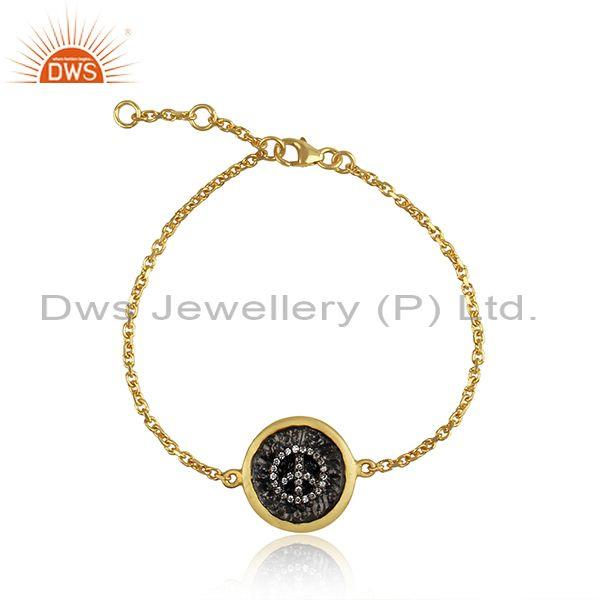 Cubic Zircon Peace Sign Silver Gold Plated Chain Bracelet