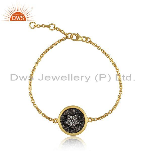 Star Sign Rhodium and Gold On 925 Silver CZ Chain Bracelet