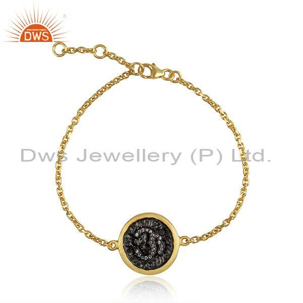 OM Design Rhodium and Gold Plated Silver Chain Bracelet