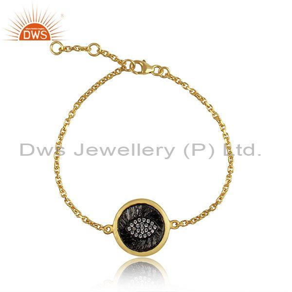 Eye Design Gold and Rhodium Plated Silver CZ Bracelet