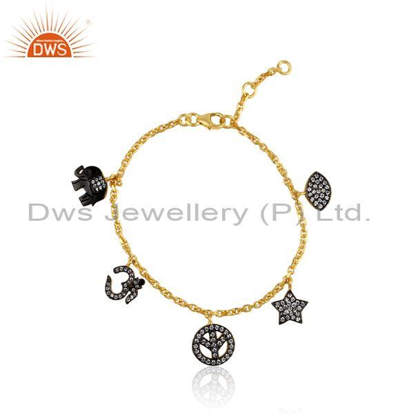 CZ Gold And Black On 925 Sterling Silver Charms Bracelet