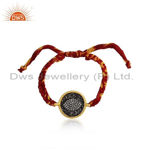 Eye Design Rhodium and Gold Plated Silver Zircon Bracelet