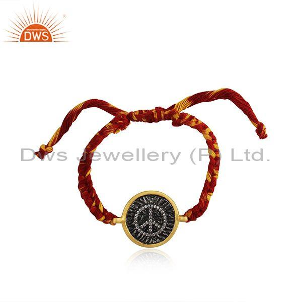 Peace Sign Gold and Rhodium plated Silver CZ Bracelet