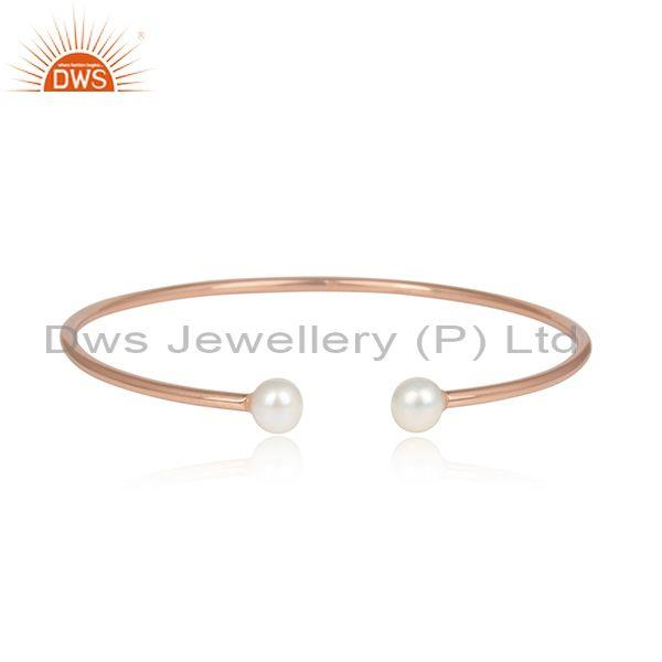 Double Pearl Beads Rose Gold On Silver Designer Cuff Bangle