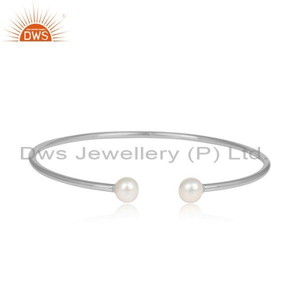Double Pearl Beads Sterling Silver Designer Cuff Bangle