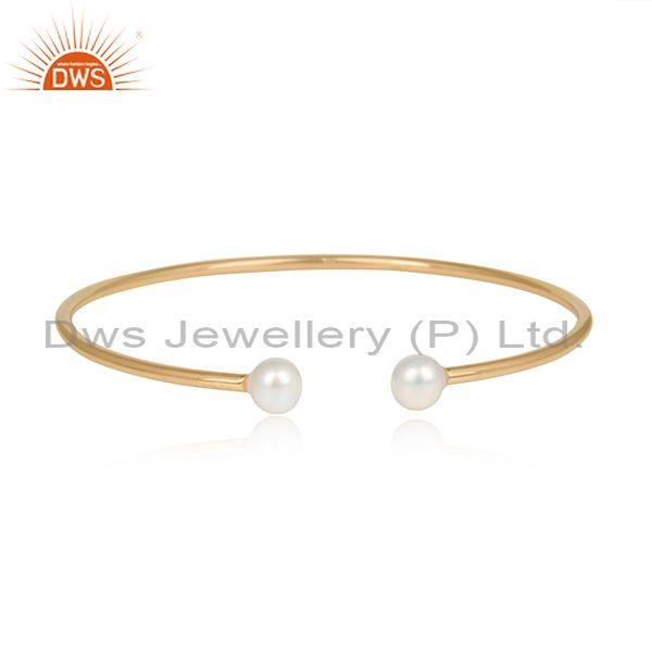 Double Pearl Beads Gold On 925 Silver Designer Cuff Bangle