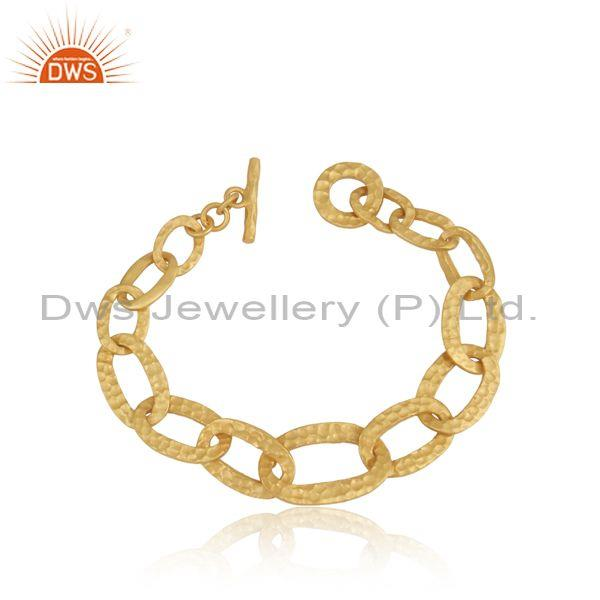 Sterling Silver Gold Plated Entwined Statement Bracelet