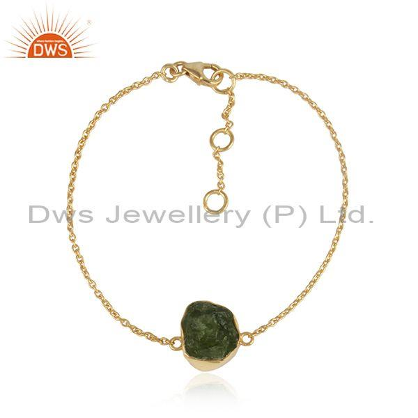 Peridot Set Gold On Sterling Silver Statement Chain Bracelet