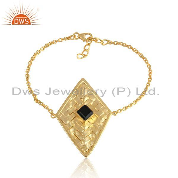 Black Onyx Set Rhombus Charm Gold On 925 Silver Bracelet