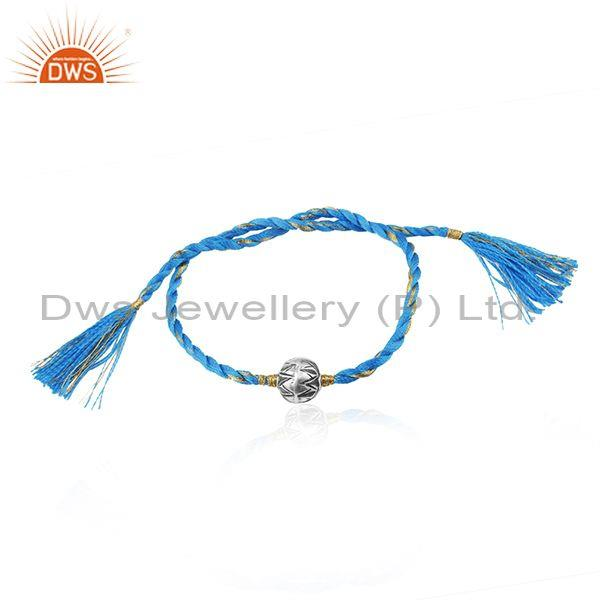 Handmade Blue Macrame Oxidized 925 Sterling Silver Beaded Bracelet
