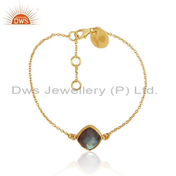 Labradorite charm set gold on silver designer chain bracelet