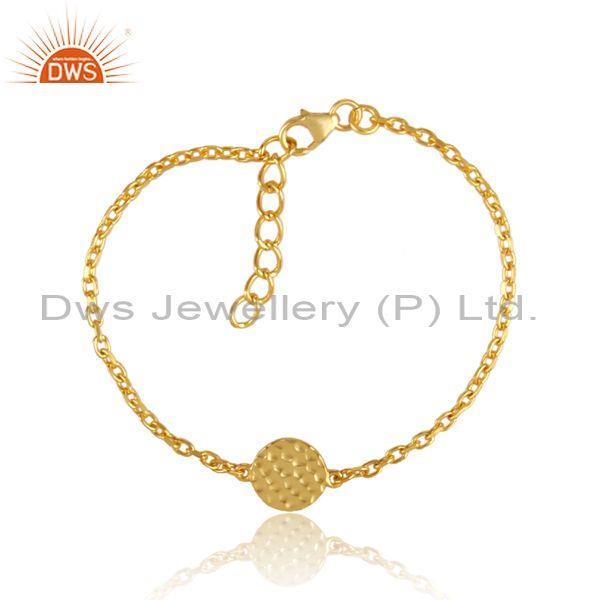 Hand hammered gold on silver round charm chain type bracelet