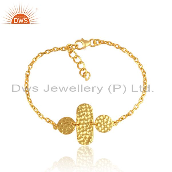 Hand hammered gold on silver charms set chain type bracelet
