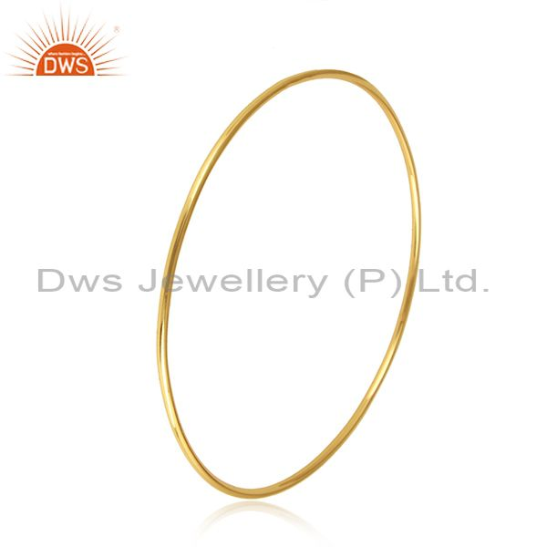 18k Gold Plated Designer Womens Plain Silver Bangle Jewelry