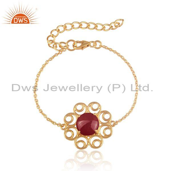 Floral red onyx charm set gold on 925 silver chain bracelet