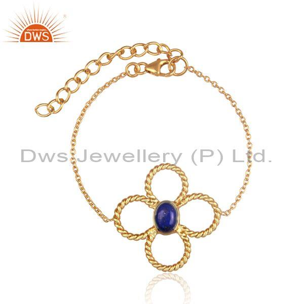 Floral oval lapis charm set gold on silver chain bracelet