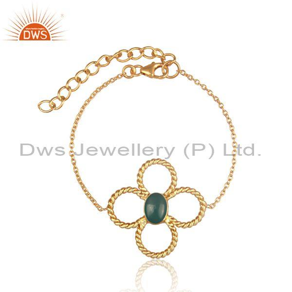 Floral green onyx charm set gold on silver chain bracelet