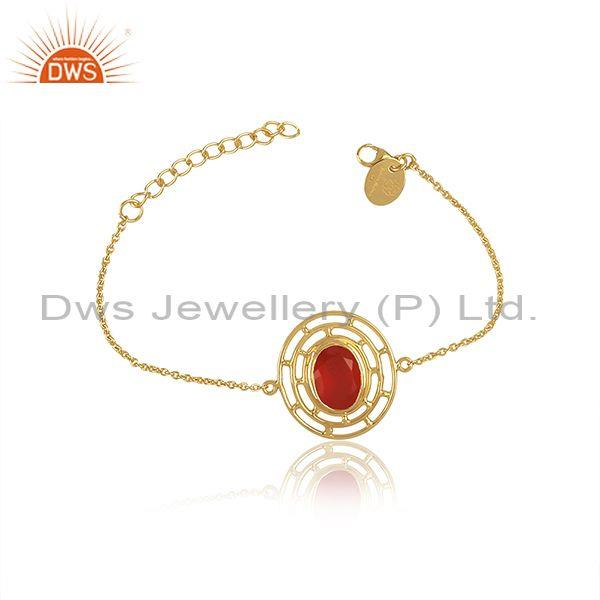 Carnelian Set Gold On Silver Oval Charm Set Classic Bracelet