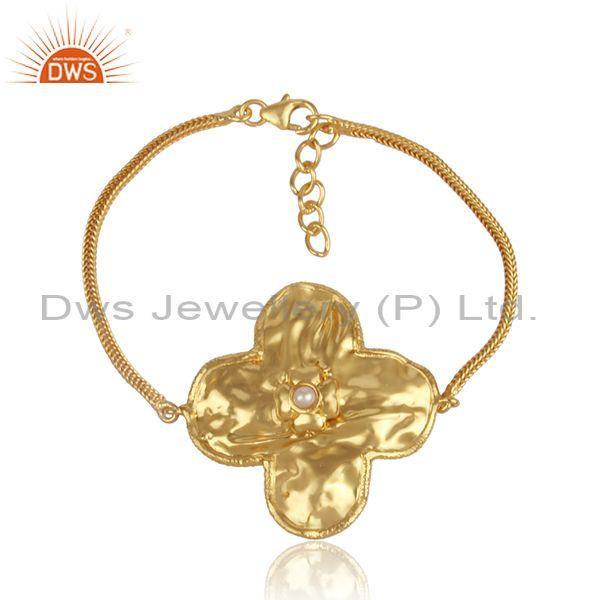 Pearl set gold on silver floral charms set classic bracelet