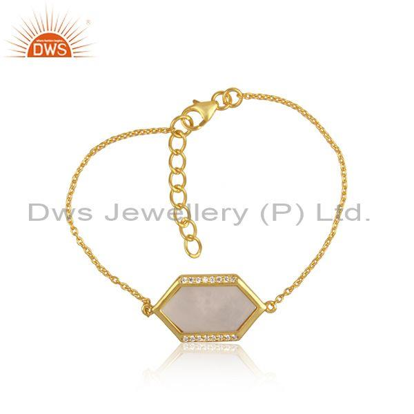CZ And Mother Of Pearl Charm Set Gold On 925 Silver Bracelet