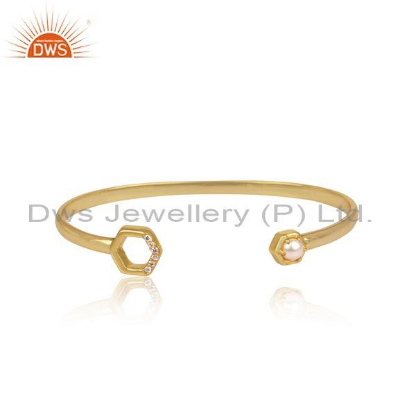 Cz and pearl set gold on 925 silver honeycomb cuff bangle