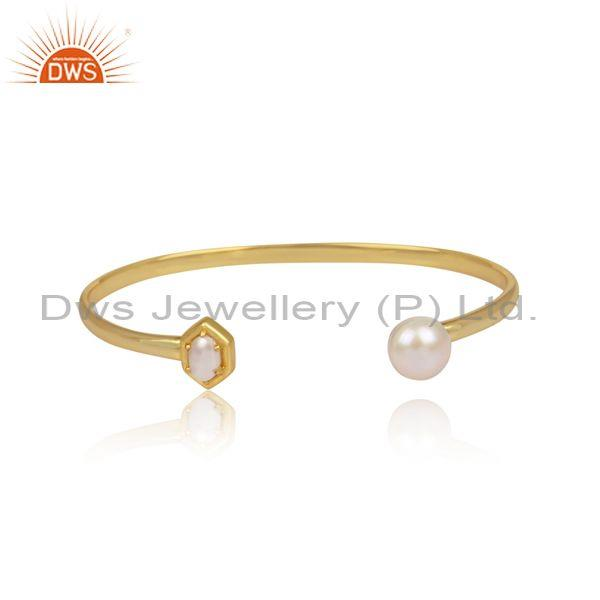 Pearls set gold on sterling silver designer cuff bangle