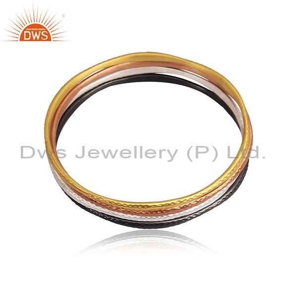 Handmade Gold, Black, White, Rose Gold On 925 Silver Bangles