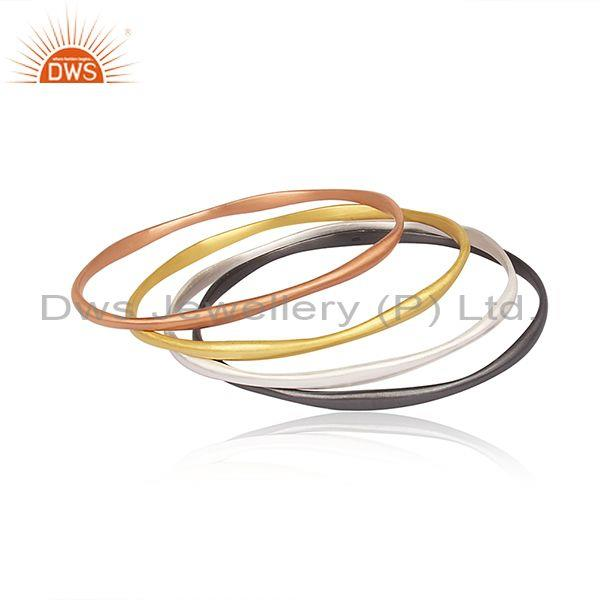 Gold, Black, White, Rose Gold On 925 Silver Ethnic Bangles