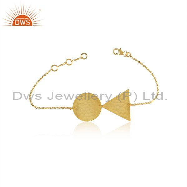 Gold On 925 Silver Triangle And Round Charms Set Bracelet