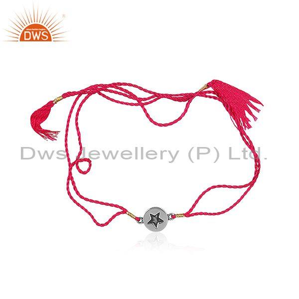 Star Shaped Oxidized Silver Charm Red Cotton Dori Bracelet