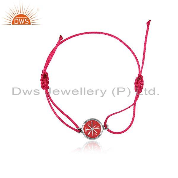 Round Oxidized 925 Silver Charm Set Red Cotton Dori Bracelet