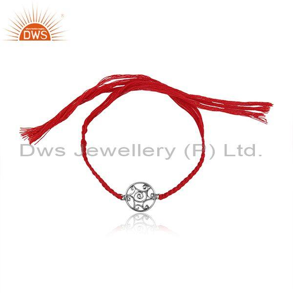 Oxidized 925 Silver Round Charm Set Red Cotton Dori Bracelet