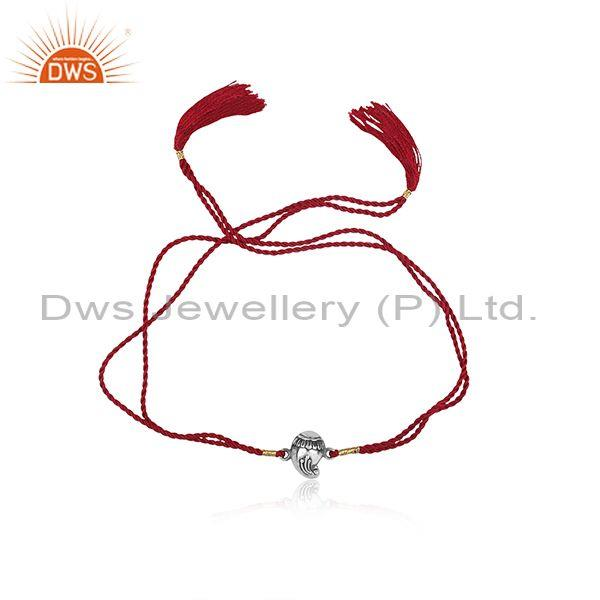 Traditional Oxidized Silver Charm Set Cotton Dori Bracelet