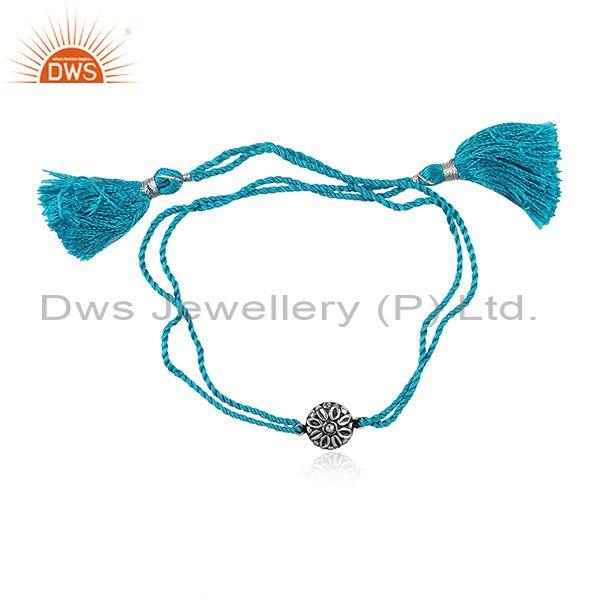 Designer Oxidized Silver Charm Set Blue Cotton Dori Bracelet