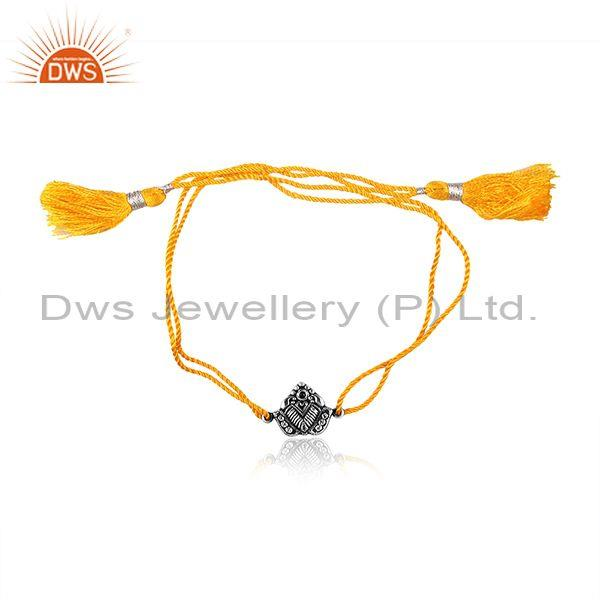 Petal Oxidized Silver Charm Set Yellow Cotton Dori Bracelet