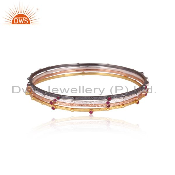 Ruby Set Gold, Black, White, And Rose On 925 Silver Bangle