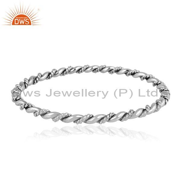 Handmade oxidized 925 sterling silver classic twisted bangle