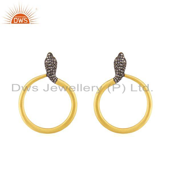 18K Yellow Gold Plated Sterling Silver Cubic Zirconia Snake Post Stud Earrings