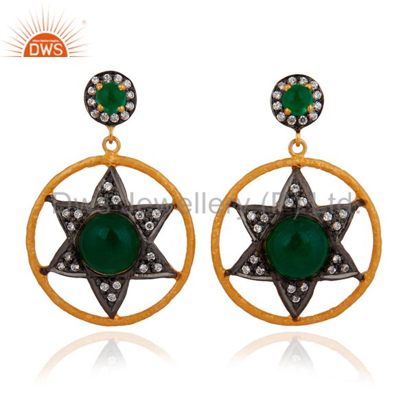 18k Gold Over Sterling Silver Green Aventurine & White Zircon Dangle Earrings