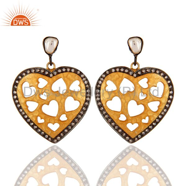 CZ Openable Heart Designer 14 K Gold Plated Wholesale Fashion Earrings
