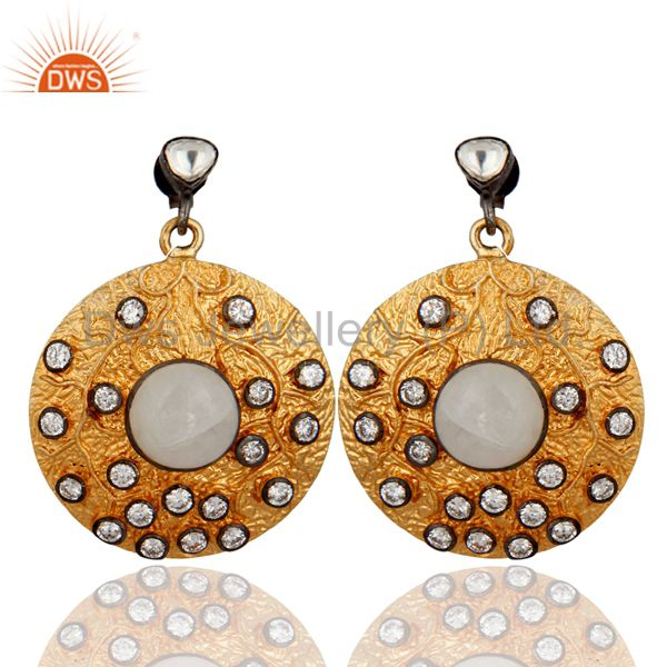 Rainbow Moonstone Vintage Look Disc Designer Fashion Wholesale Earrings